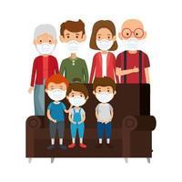 famiglia carina con maschera facciale con divano