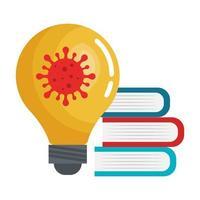 pila di libri e lampadina con particella covid 19