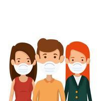gruppo di persone che utilizzano icone isolate maschera facciale