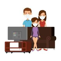 gruppo di persone che usano la maschera per il viso guardando la tv