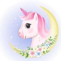 unicorno e falce di luna vettore