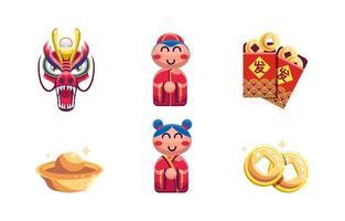 set di icone del nuovo anno cinese vettore