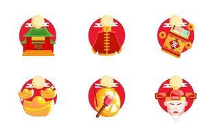 set di icone di festività del capodanno cinese vettore
