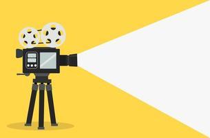 banner di fotocamera a pellicola cinematografica con spazio di copia vettore