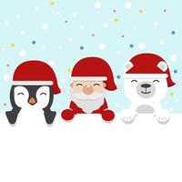 simpatico cartone animato di renne, Babbo Natale e pinguino con un cartello in bianco di Natale