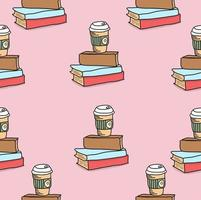 libro con sfondo seamless pattern caffè vettore