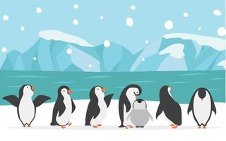 famiglia felice del pinguino all'aperto vettore