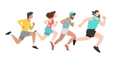 gruppo di persone che corrono vettore