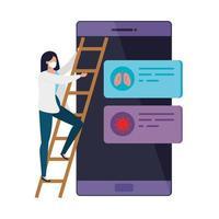 donna e smartphone con informazioni covid 19 vettore