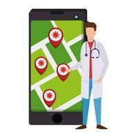 medico e smartphone con app di localizzazione infezioni covid 19 vettore
