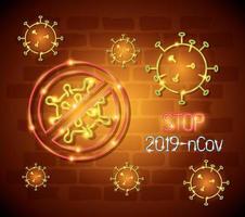 simbolo della luce al neon covid 19 coronavirus, pericolosa pandemia di coronavirus scoppio della luce al neon incandescente