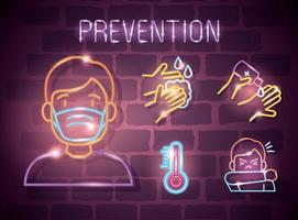 simbolo della luce al neon covid 19 coronavirus, icone di prevenzione, pericolosa pandemia di coronavirus scoppio della luce al neon incandescente