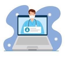 medicina online, medico consulta in linea laptop, pandemia covid 19 vettore