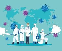 medico e persone con tuta protettiva per spruzzare il covid 19, concetto di virus di disinfezione vettore
