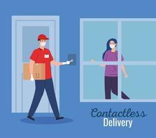 corriere di consegna contactless sicuro a domicilio da covid 19 vettore