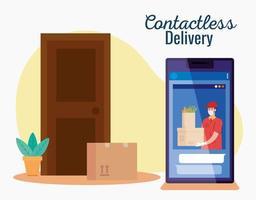 corriere di consegna contactless sicuro a casa da covid 19, stare a casa, ordinare merci online tramite smartphone vettore