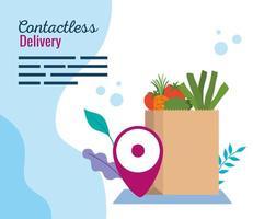 corriere di consegna contactless sicuro di covid 19, busta di carta con generi alimentari vettore