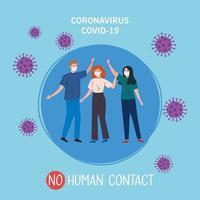 nessun contatto umano, persone che usano la maschera facciale contro il coronavirus 2019 ncov vettore