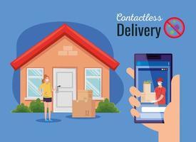 corriere di consegna contactless sicuro a casa da covid 19, stare a casa, ordinare merci online tramite smartphone