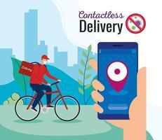 corriere di consegna contactless sicuro di covid 19, stare a casa, ordinare merci online tramite smartphone vettore