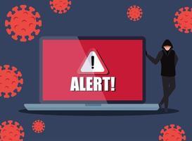 hacker e computer portatile con segnale di avvertimento di pericolo durante la pandemia di covid 19 vettore