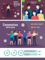 set scene, persone che usano la maschera facciale e campagne di prevenzione del coronavirus covid 19 vettore