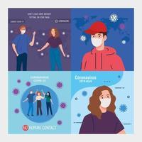 scene ambientate, nessuna campagna di contatto umano, persone che usano la maschera facciale contro il coronavirus 2019 ncov vettore