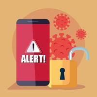 smartphone con notifica di avviso e lucchetto, durante una pandemia di covid 19 vettore