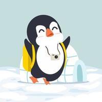 pinguino con il vettore della ghiacciaia igloo