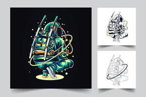 illustrazione di opere d'arte astronauta vettore