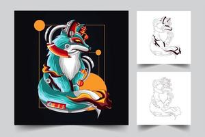 illustrazione di opere d'arte di volpe vettore