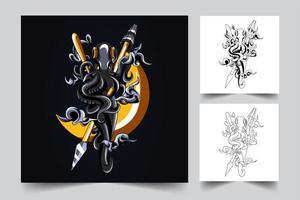illustrazione di opere d'arte di polpo vettore