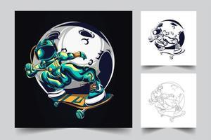 illustrazione di opere d'arte astronauta freestyle vettore