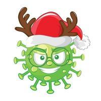 emoticon del virus corona di natale. vettore