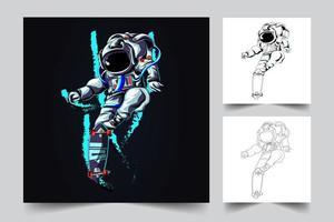 illustrazione del materiale illustrativo del bordo di schizzo dell'astronauta vettore