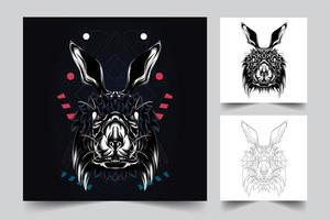 illustrazione di opere d'arte di coniglio vettore