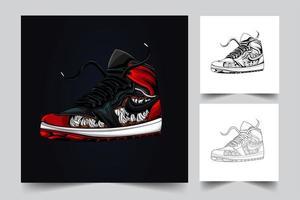 illustrazione di opere d'arte di scarpe vettore