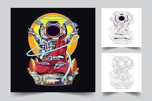 astronauta buddha illustrazione opere d'arte vettore