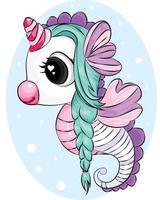 bellissimo unicorno con capelli verdi su sfondo ciano illustratore vettoriale