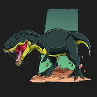 tirannosauro verde arrabbiato t rex vettore