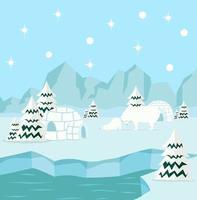sfondo artico con orso polare vettore