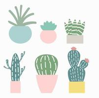 carino cactus set illustrazione vettoriale