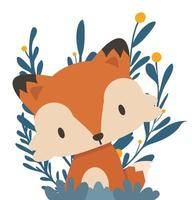 cartone animato volpe rossa con foglie naturali vettore