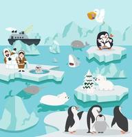 set di simpatico cartone animato paesaggio del polo nord