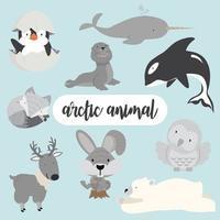 set di animali artici vettore