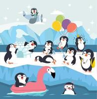 set di simpatico cartone animato pinguino facendo attività vettore