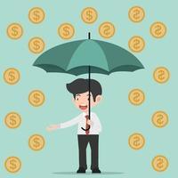 uomo d'affari che tiene ombrello con monete vettore