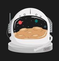 concetto di casco spaziale astronauta con galassia vettore