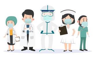 gruppo di medici e infermieri team di medici insieme vettore