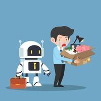 triste uomo d'affari sostituito da un robot vettore